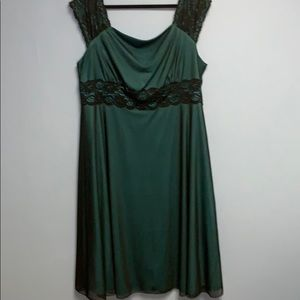 Black and teal dress